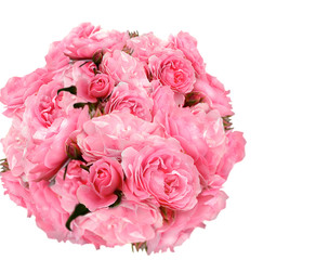 Bouquet of pink roses. Over white, isolated.