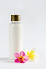 bottles and flower