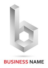 Alphabet logo design - abstract lowercase letter b (part of set)