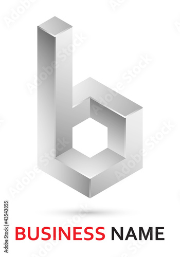 Alphabet logo design - abstract lowercase letter b (part of set)