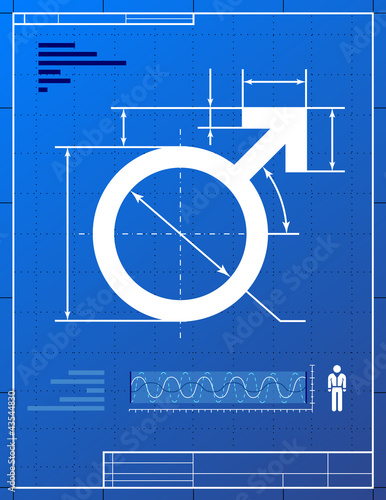 Male symbol. Stylized drawing of men sign on blueprint paper