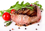 Delicious beef steak, medium grilled