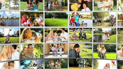 Montage 3D images of Caucasian family