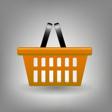 Orange shopping basket icon vector illustration