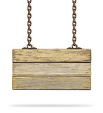 Old color wooden board with rusty chain. Vector illustration