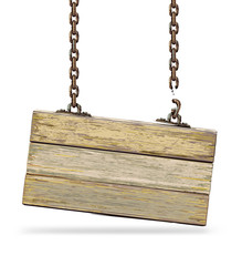 Old color wooden board with broken chain. Vector illustration