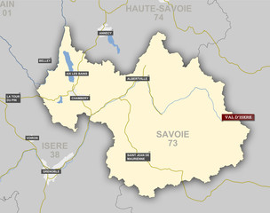 Carte et situation de Val d'Isère