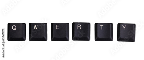 Keyboard keys saying qwerty isolated on white