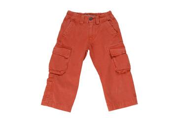 Детские брюки / джинсы  на белом фоне.