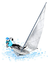 Sailing Boat Blasting Through A Wave During A Race