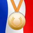 Médaille de bronze sur fond drapeau français