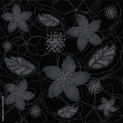Seamless black and silver floral wallpaper