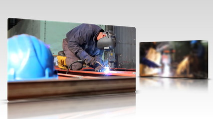 Welder at work, multi screen
