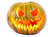 Halloween pumpkin with scary face over white background