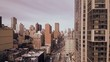 New York City Manhattan street helicopter areal view
