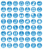 blue icons accommodation poster