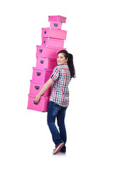 Girl with stack of giftboxes on white
