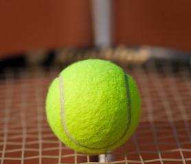 Tennisball auf einem Tennisschläger