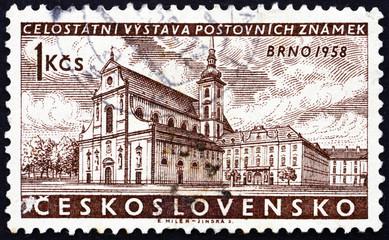 Postage stamp Czechoslovakia 1958 St. Thomas Abbey, Brno
