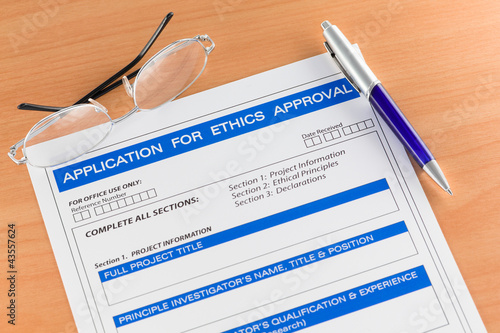 Application for Ethics Approval Form on Table
