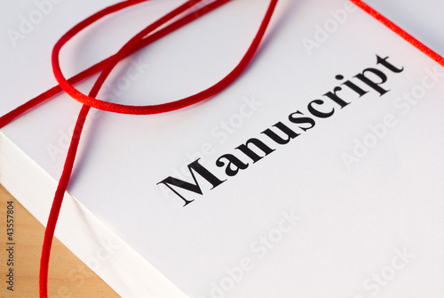 Manuscript from Author with Red Twine Closeup