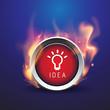 Bulb light idea button in fire