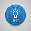 Bulb light idea button blue