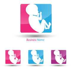 logo baby pink and blue
