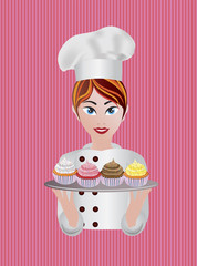 Woman Pastry Chef Illustration