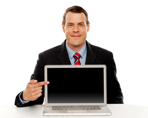 Businessman pointing at blank laptop screen