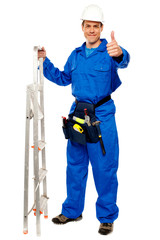 Repairman holding ladder and showing thumbs up