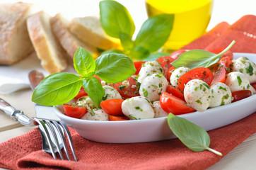 Leckerer Tomaten-Mozzarella-Salat mit frischem Basilikum