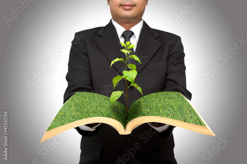 Businessman hold tree growing from open book