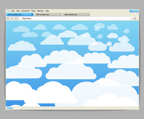 Opened browser window template with clouds