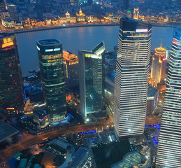 shanghai lujiazui business center at night