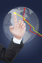 Hand pushing finance graph for trade stock market