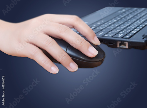 Business hand click mouse.