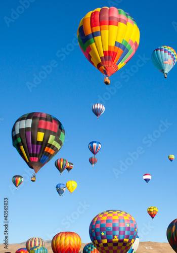 Leinwandbild Motiv Colorful Hot Air Balloons on a Sunrise Flight