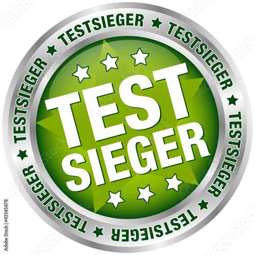 "Button ""Testsieger"" grün/silber"