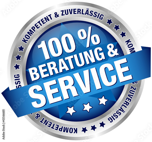 "Button Banner ""100 % Beratung & Service"" blau/silber"