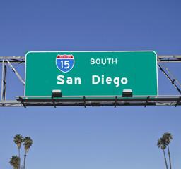 San Diego 15 Freeway Sign with Palms