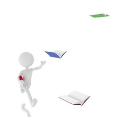 3d person chasing flying books.