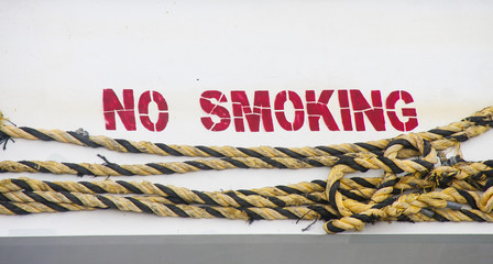 No Smoking on Hull with Yellow and Black Rope