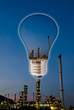 Light bulb with Petrochemical industry.