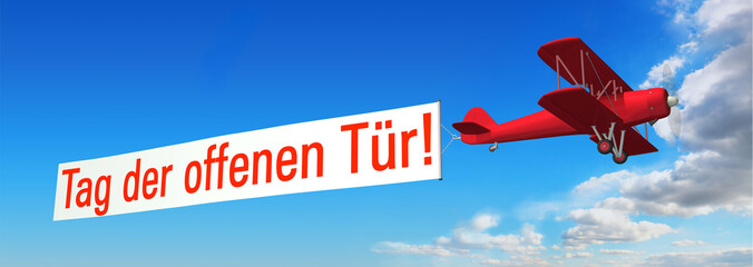 Doppeldecker & Werbebanner: Tag der offenen Tür!
