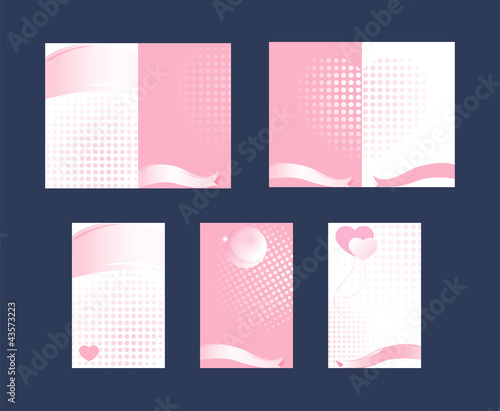 Set of cards Ribbons Heart Pink and white background