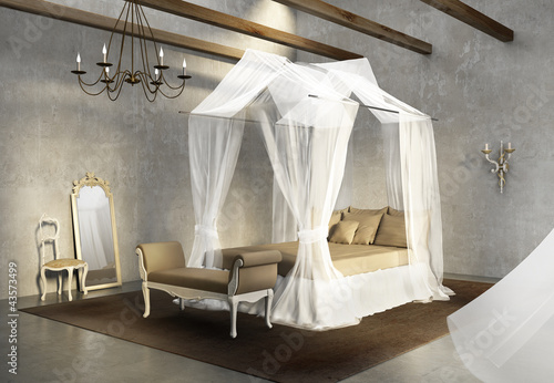 Vintage concrete grungy wall, antique, luxury romantic bedroom