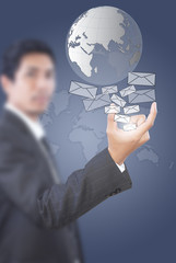 Businessman Holding Mail for Social Network.