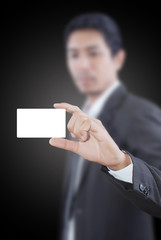 Businessman Holding Blank Name Card.
