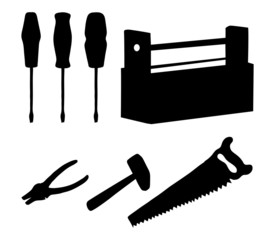 Tools set, silhouettes